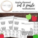 Apple Addition, Subtraction, Noun / Verb Cut & Paste Worksheets / Printables