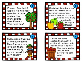 Addition Word Problem Task Cards (Apple Theme)