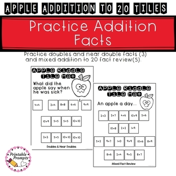 Apple Addition to 20 Tiles Math Center