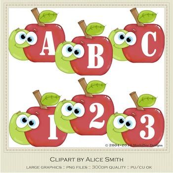 Apple Alphabet Clip Art Graphics by Alice Smith