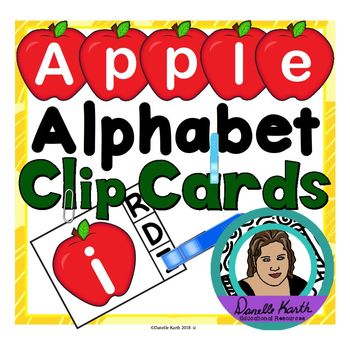 Apple Alphabet Clip Cards - Upper and Lowercase Letter Recognition