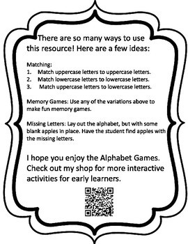 Apple Alphabet Games - Black and White Version Only