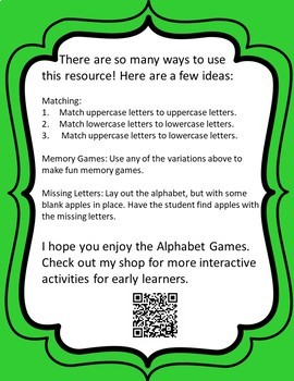 Apple Alphabet Games - Color and Black & White Versions