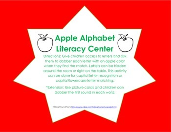 Apple Alphabet Literacy Center
