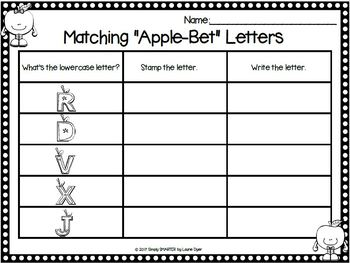 Apple Alphabet Stamping Activity:  NO PREP Rubber Stamping Activities