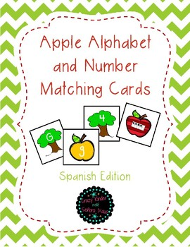 Apple Alphabet and Number Matching *Spanish*