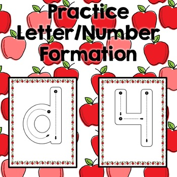 Apple Alphabet and Number Tracing Cards