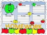 Apple Antics Homework Wall Chart and Matching Take Home Sheets