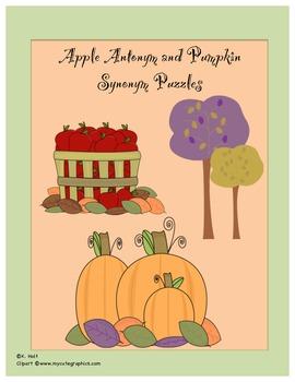 Apple Antonym Puzzles/Pumpkin Synonym Puzzles