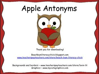 Apple Antonyms - Common Core Activity Pack