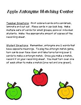 Apple Antonyms Matching Center and Recording Sheet