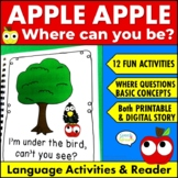 Apple Reader & Speech Therapy Activities for Where Questions