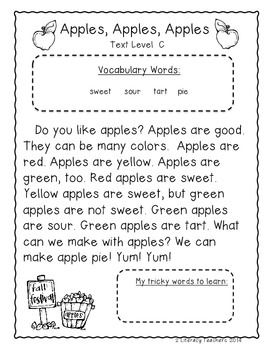 Apple, Apples, Apples: CCSS Aligned Leveled Reading Passages and Activities