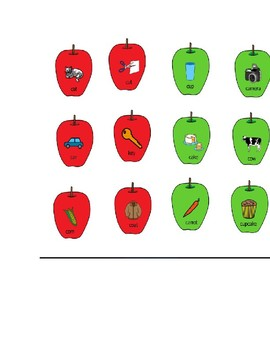 Apple Articulation initial /k/ and initial /f/ Speech Therapy