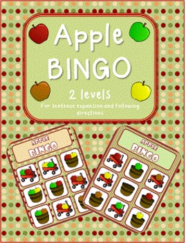 Apple BINGO for sentence expansion and following directions
