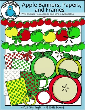 Apple Banners, Papers, and Frames Clip Art Set - Chirp Graphics