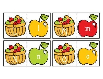 Alphabet ABC Matching 2-Part Cards with Apples