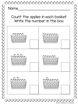 Apple Basket Counting Clip Cards, Poster, Book, and Worksheet Packet - 0 to 20