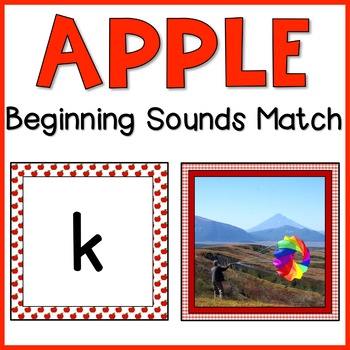 Apple Beginning Sounds Match | Print & D'Nealian