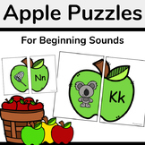 Apple Puzzles-A Fall Beginning Sounds Matching Activity
