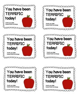Positive Student Reward Tickets-Apple Themed