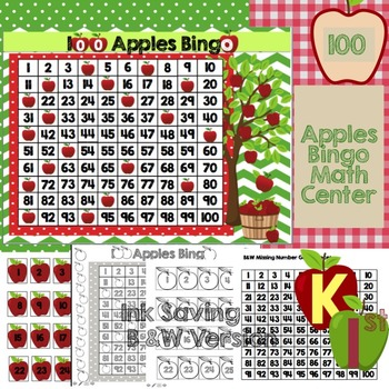 100 Chart Bingo Apple Themed Math Center