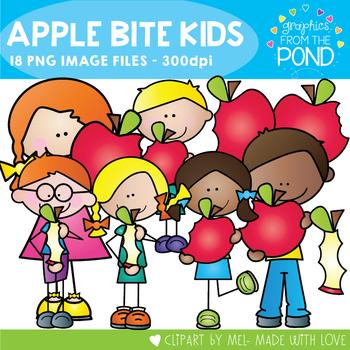Apple Bite Stick Kids Clipart Set