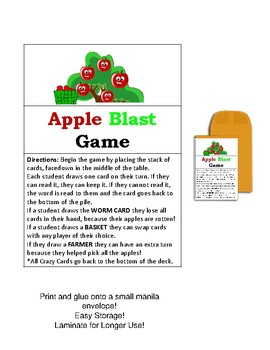 FREE Apple Blast Fall Sight Word Game (PrePrimer)