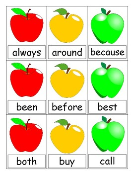 Apple Blast Fall Sight Word Game (Second)