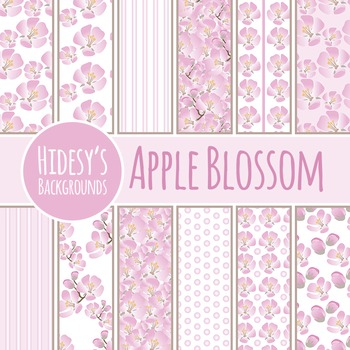 Apple Blossoms Backgrounds  / Digital Papers / Patterns Clip Art Commercial Use