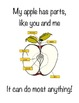 Apple Book- simple story book with leg print, poems, pictures, sequencing, cycle