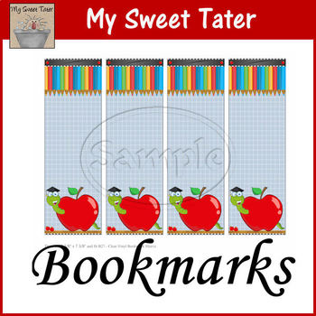 Apple Bookworm Bookmarks Printable