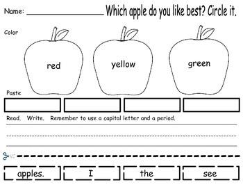 Apple - Build A Sentence FREEBIE