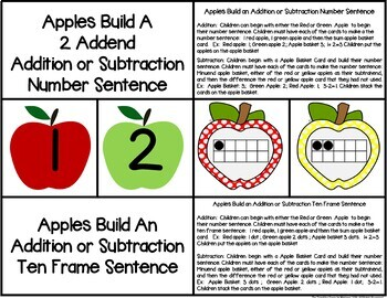 Apple Build a 2 Addend Addition or Subtraction Sentence with Ten Frames