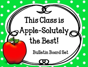 Apple Bulletin Board Set. Welcome Back to School! Red Lime Green