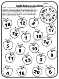 Apple Bump Game 1-20 Addition Facts Game Math Game Spinner Apple Math Centers
