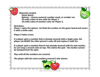 Apple Bump: Numerals, Number Words and Number Sets 1-10