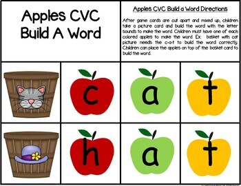 Apple CVC Build A Word Center Activity