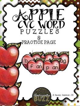Apple CVC Puzzles & Practice Sheet