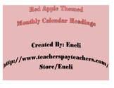 Calendar Headers and Calendar Numbers - Apple Themed - Red