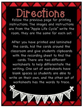 Apple Center ~ Write the Room 3 Different Centers