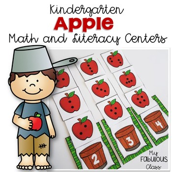 Apple Math and Literacy Centers for Kindergarten