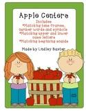 Apple Centers: Tens Frames, Beginning Sounds, Letter Matching