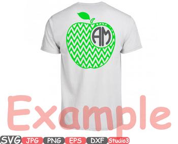 Apple Chevron Frame Monogram clipart split circle tshirt shirt teacher gold 39sv