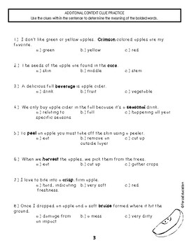 Apple Cider Reading/Listening Comprehension, Vocabulary & Context Clues