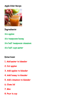 Apple Cider Recipe Controlled Text Easy Reader