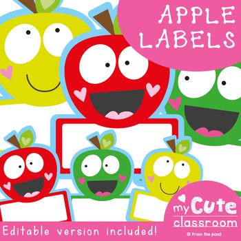 Apple Classroom Labels / Name Tags for the Classroom {Editable}