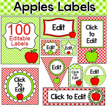 Apples Theme Labels for Classroon Jobs, Supplies, Binders etc