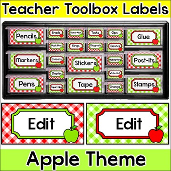 Apples Theme Teacher Toolbox Supply Labels