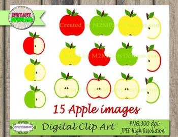 Apple Clip Art: Apple Digital File, Set of 15 PNGs, Jpegs